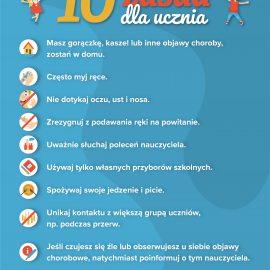 BEZPIECZNY POWRÓT DO SZKÓŁ – 10 zasad dla ucznia i rodzica