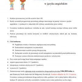 Konkurs recytatorski w języku angielskim dla klas 1-3
