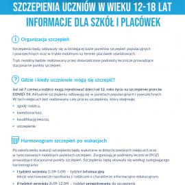 Szczepienia przeciw COVID-19 w szkole
